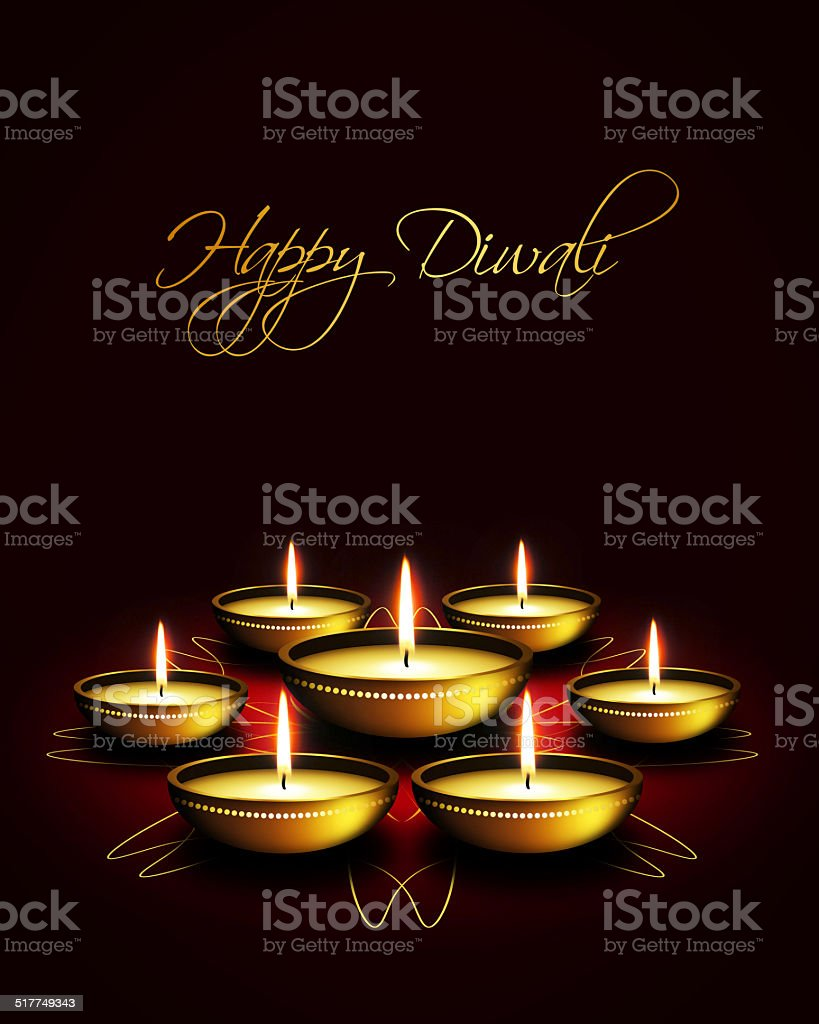 Oil Lamp With Diwali Greetings Over Dark Background Stock Vector Art