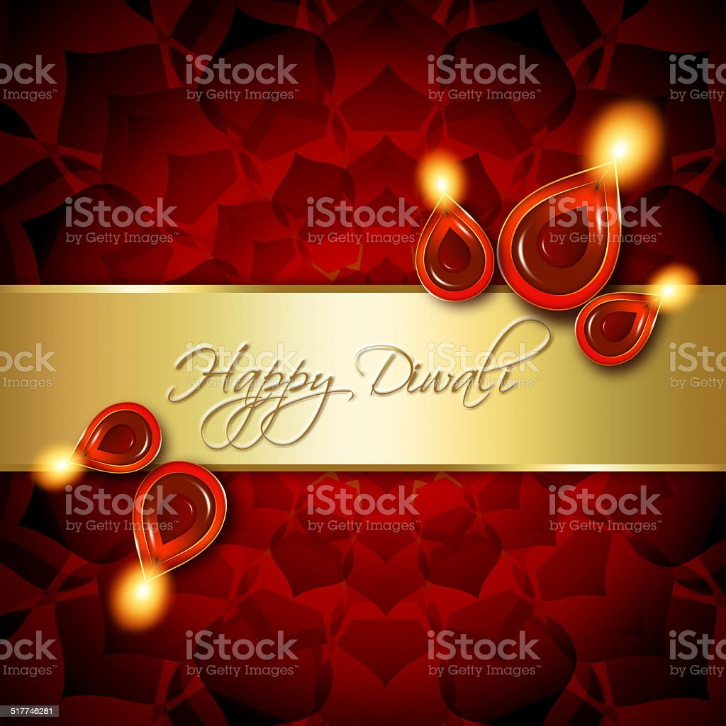 Oil Lamps With Diwali Greetings Over Red Background Stock Vector Art