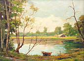Oil painting showing boat on the lake and cottage on a beautiful summer day.