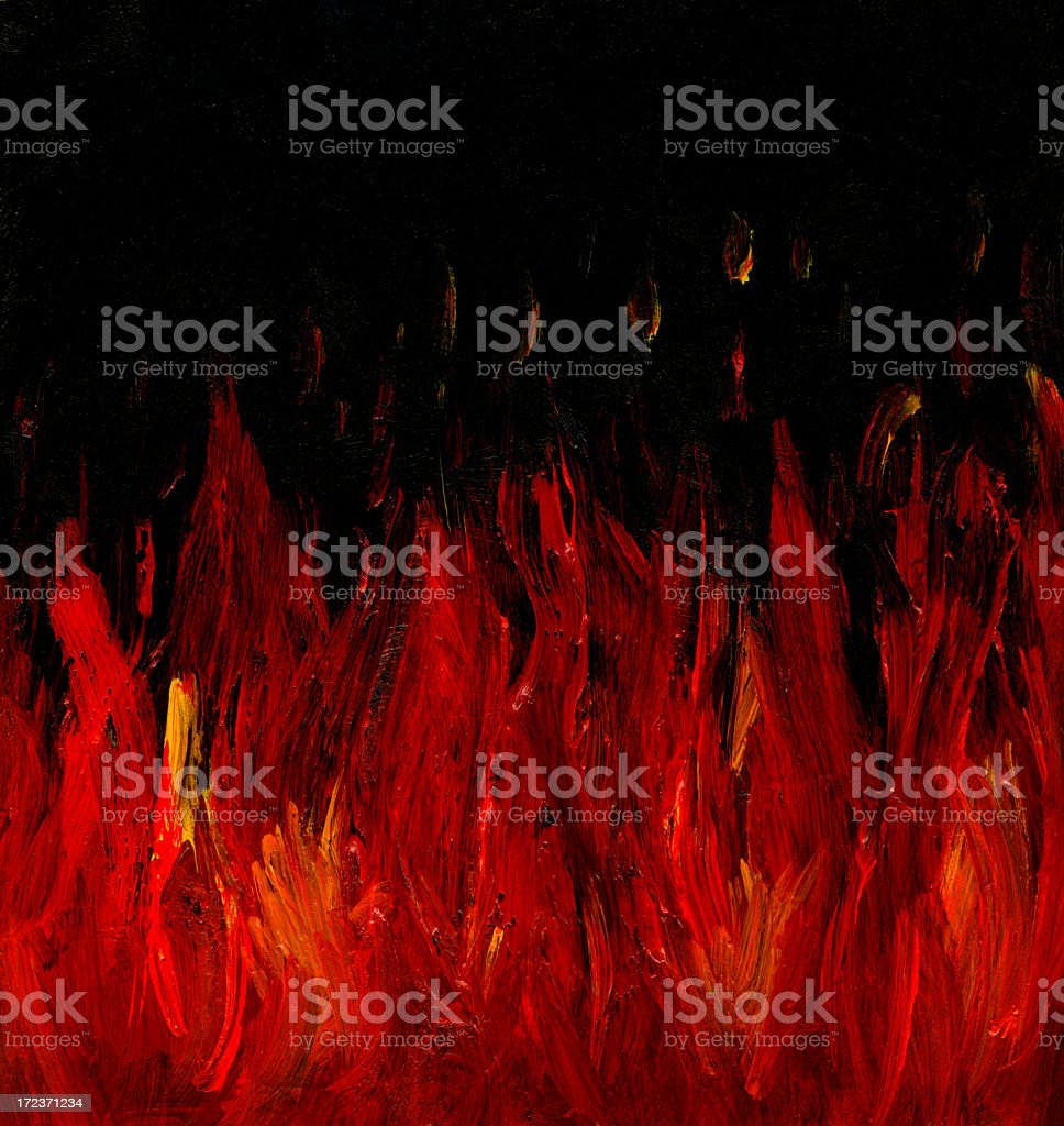 Oil Painted Fire in the Night royalty-free stock vector art