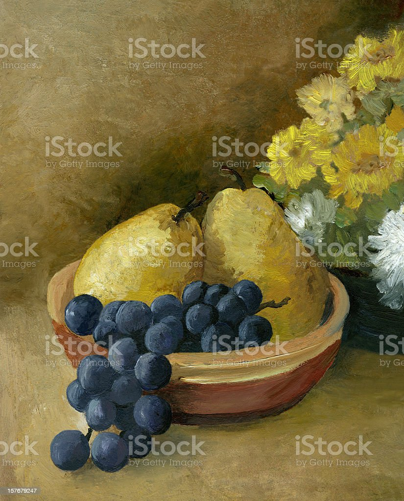 Oil painted fruit and flowers vector art illustration