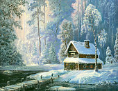 istock Oil painted hut in winter forest 1069936470