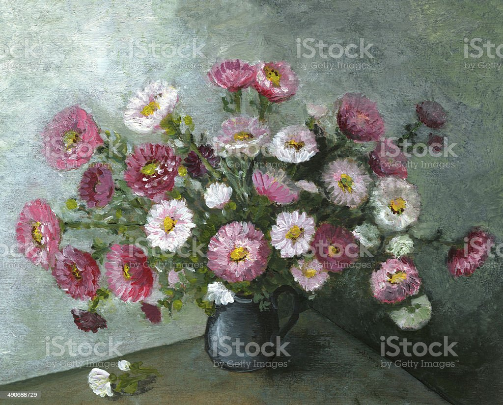 Oil painted multicolored flowers arrangement vector art illustration
