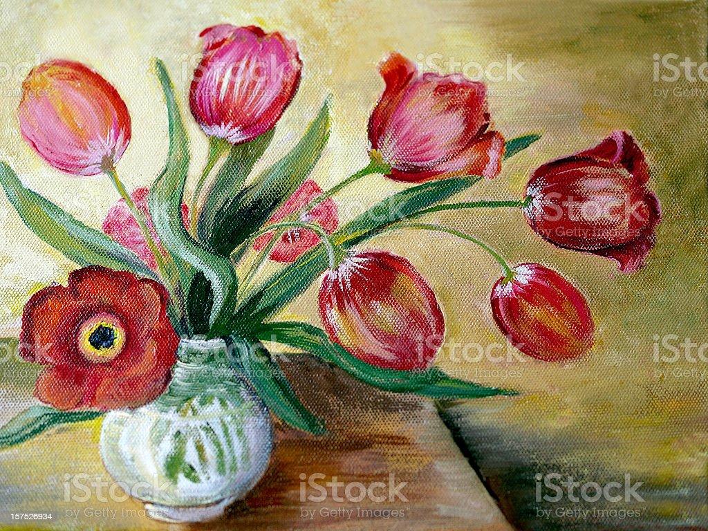 Oil Painted Red Tulip Arrangement vector art illustration