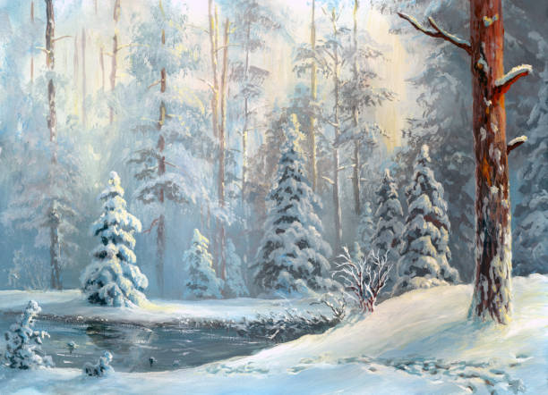 oil painted winter forest vector art illustration