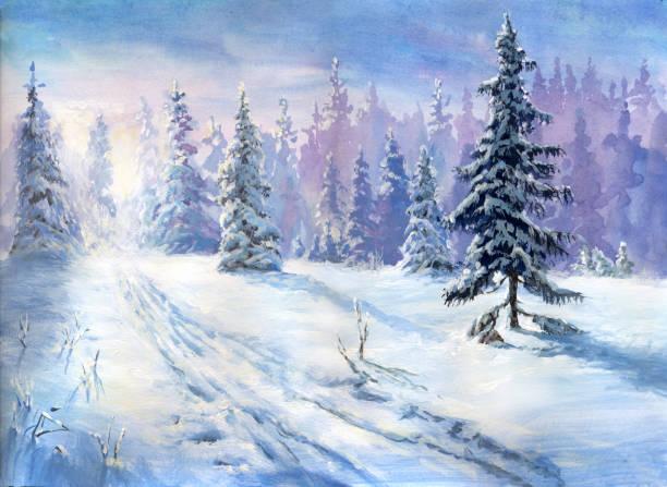 bildbanksillustrationer, clip art samt tecknat material och ikoner med olja målade vintern skog - måla tavla