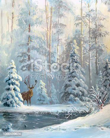 istock Oil painted winter forest 1066439624