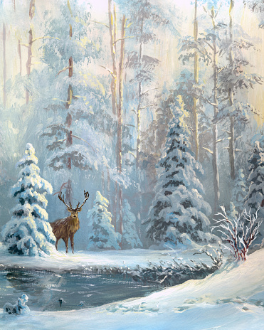 Oil painted winter forest