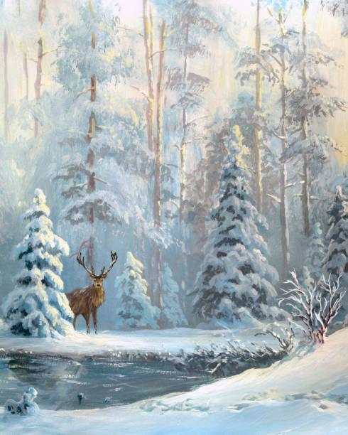 stockillustraties, clipart, cartoons en iconen met olie geschilderd winter forest - christmas