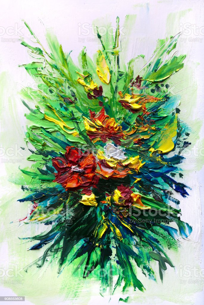 Oil Painting Abstract Bouquet Of Spring Flowers Stock Vector Art ...