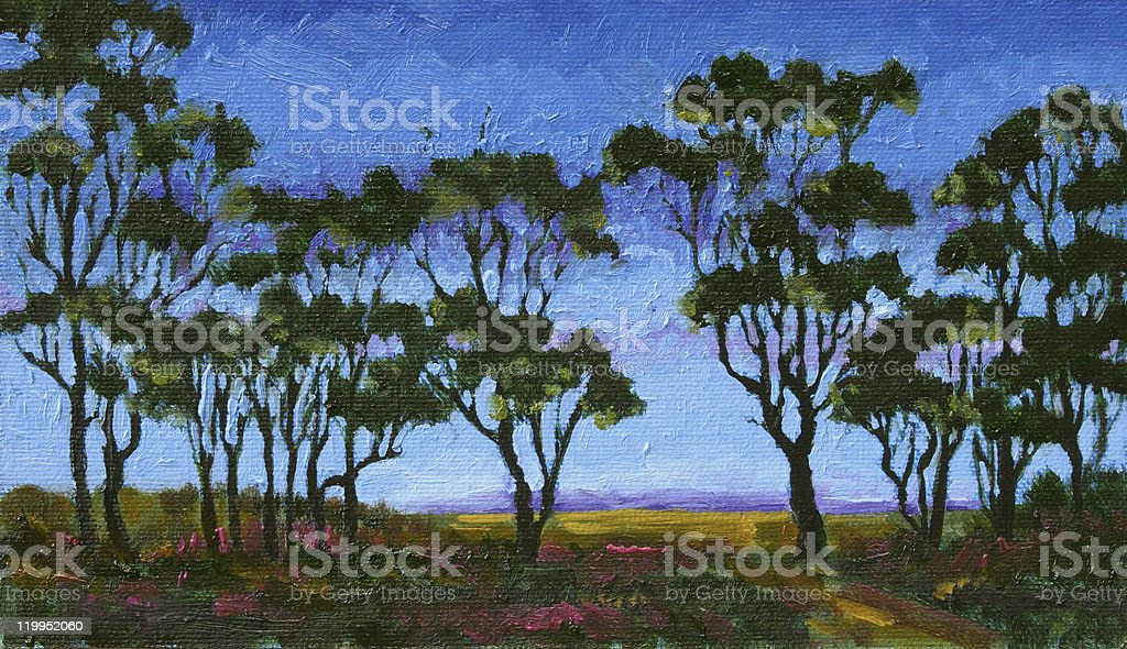 Oil Painting Australian Gum Trees at Twilight vector art illustration