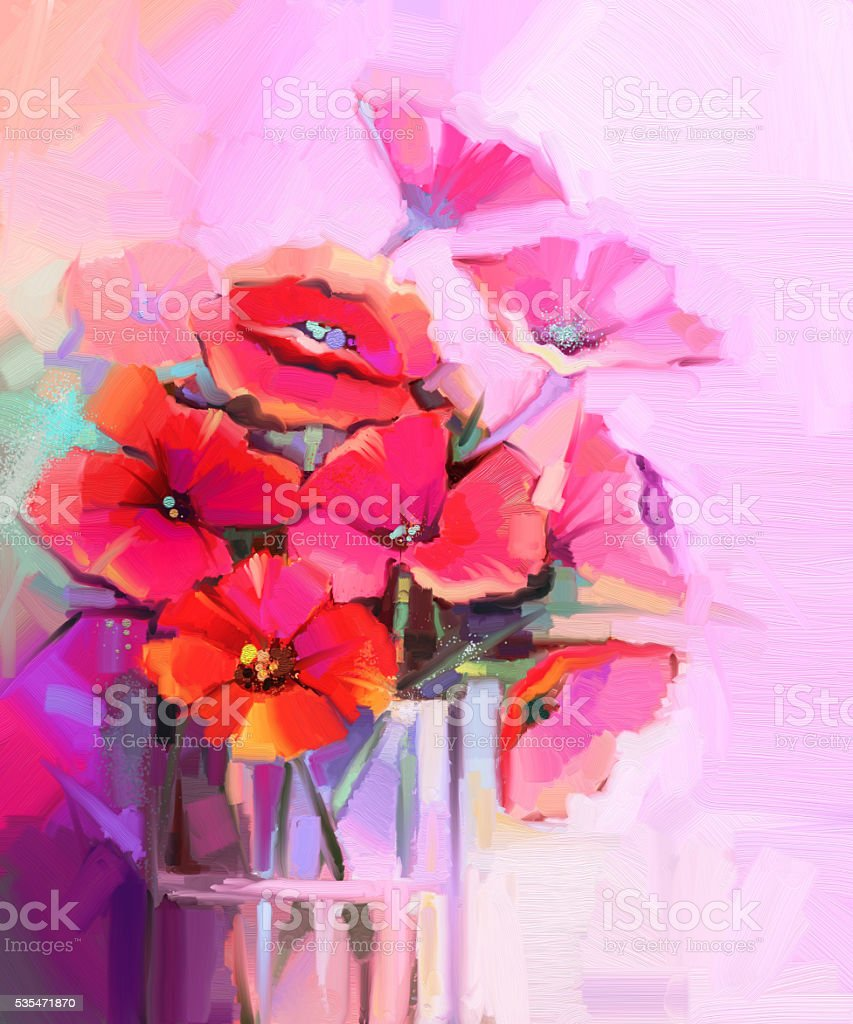Oil painting bouquet of poppy flowers in glass vase stock vector oil painting bouquet of poppy flowers in glass vase royalty free oil painting bouquet reviewsmspy