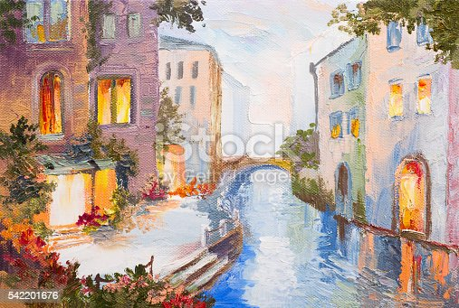 Oil painting - canal in Venice, Italy, modern impressionism, colorful
