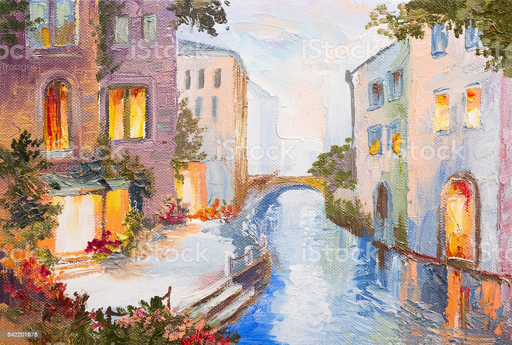 Oil painting - canal in Venice, Italy, modern impressionism, colorful vector art illustration