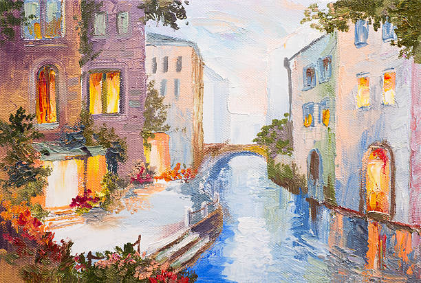 oil painting - canal in venice, italy, modern impressionism, colorful - oil painting stock illustrations