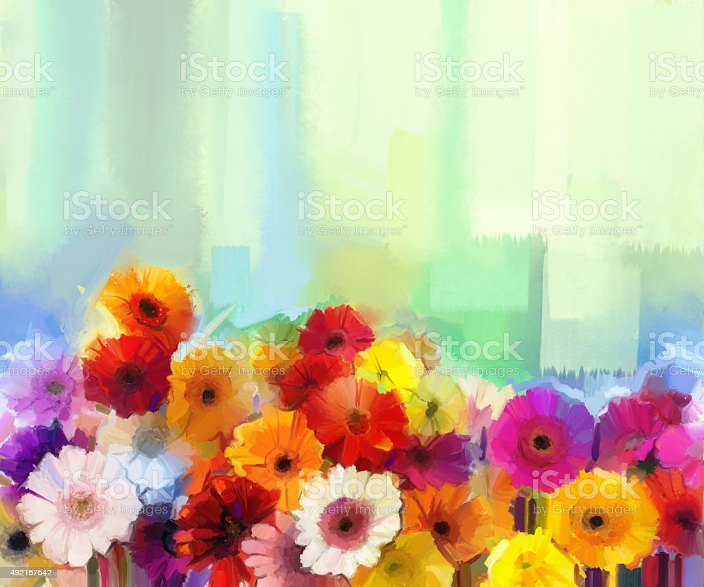 Oil painting colorful bouquet of daisy and gerbera flowers stock oil painting colorful bouquet of daisy and gerbera flowers royalty free oil painting colorful izmirmasajfo