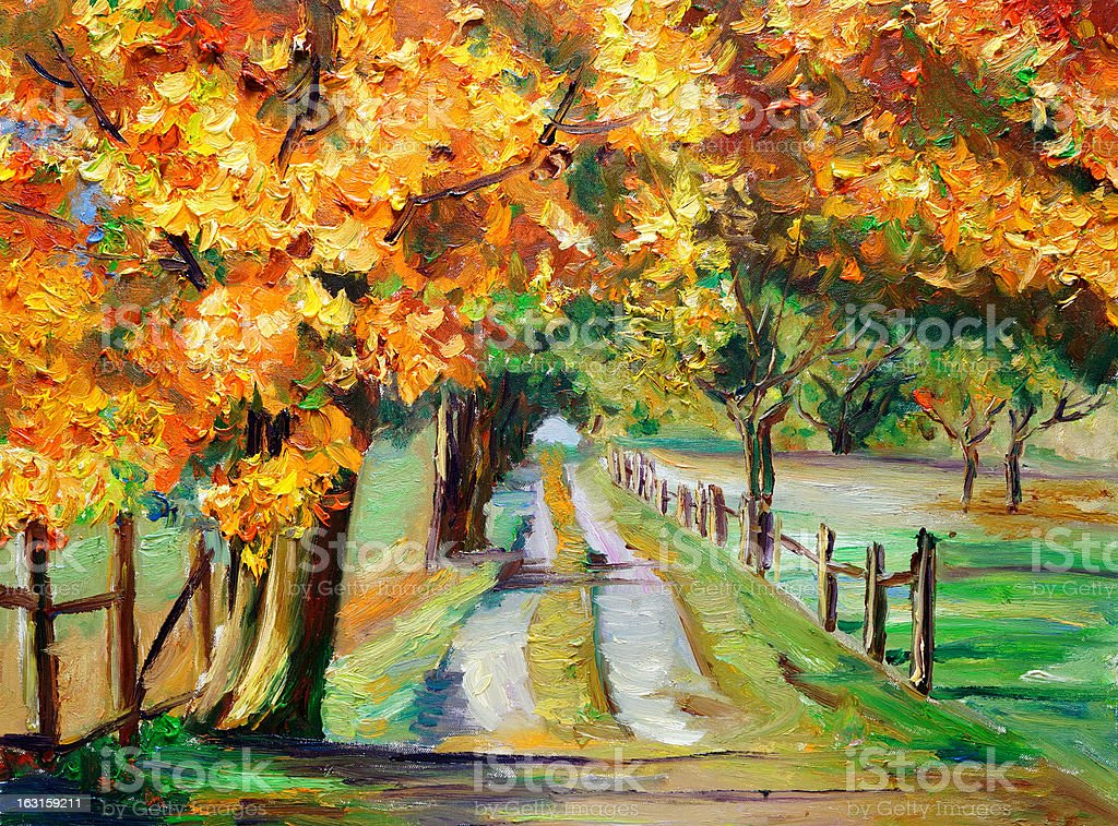 Oil Painting - Country Road with Maple royalty-free stock vector art