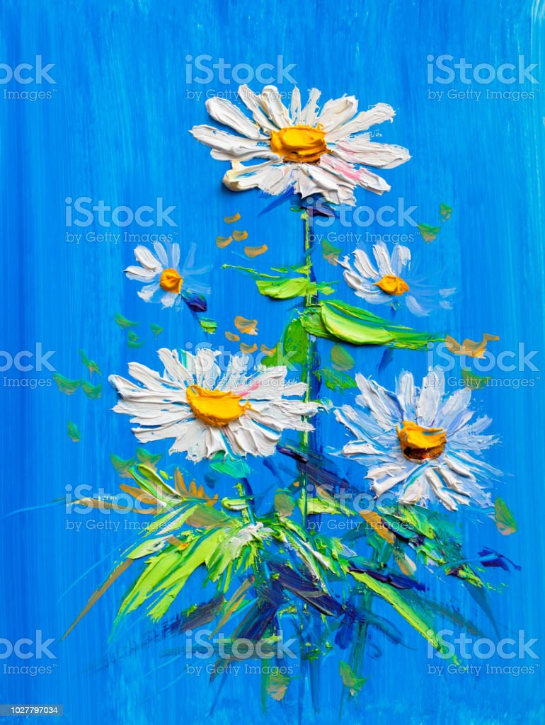 Oil Painting Daisy Flowers Stock Vector Art More Images Of
