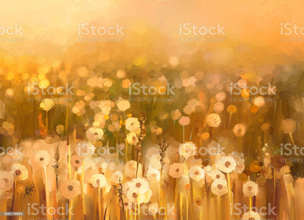 Oil painting daisy-chamomile flowers field  background Oil painting daisy-chamomile flowers field  background 2015 stock illustration