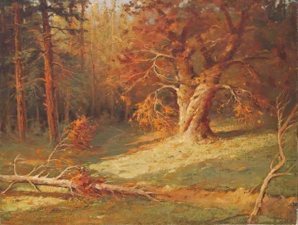 Oil painting - Deep forest vector art illustration