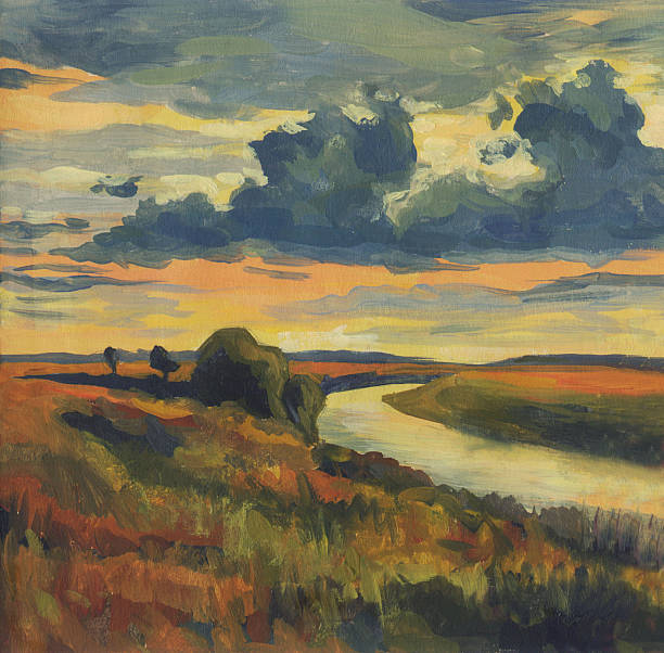 oil painting. evening landscape with cloudy sky and river - oil painting stock illustrations