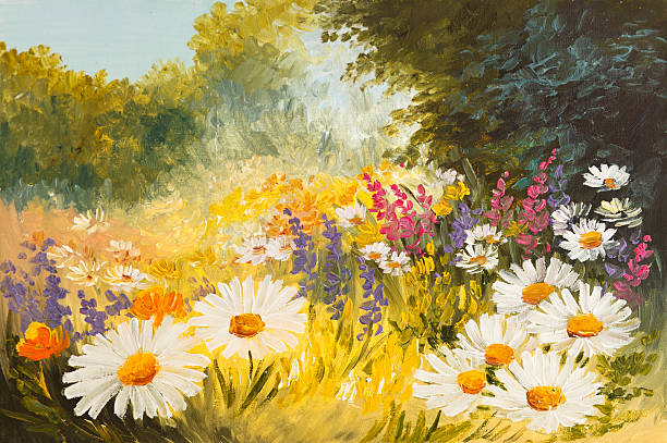 oil painting - field of daisies. colorfull art drawing - oil painting stock illustrations