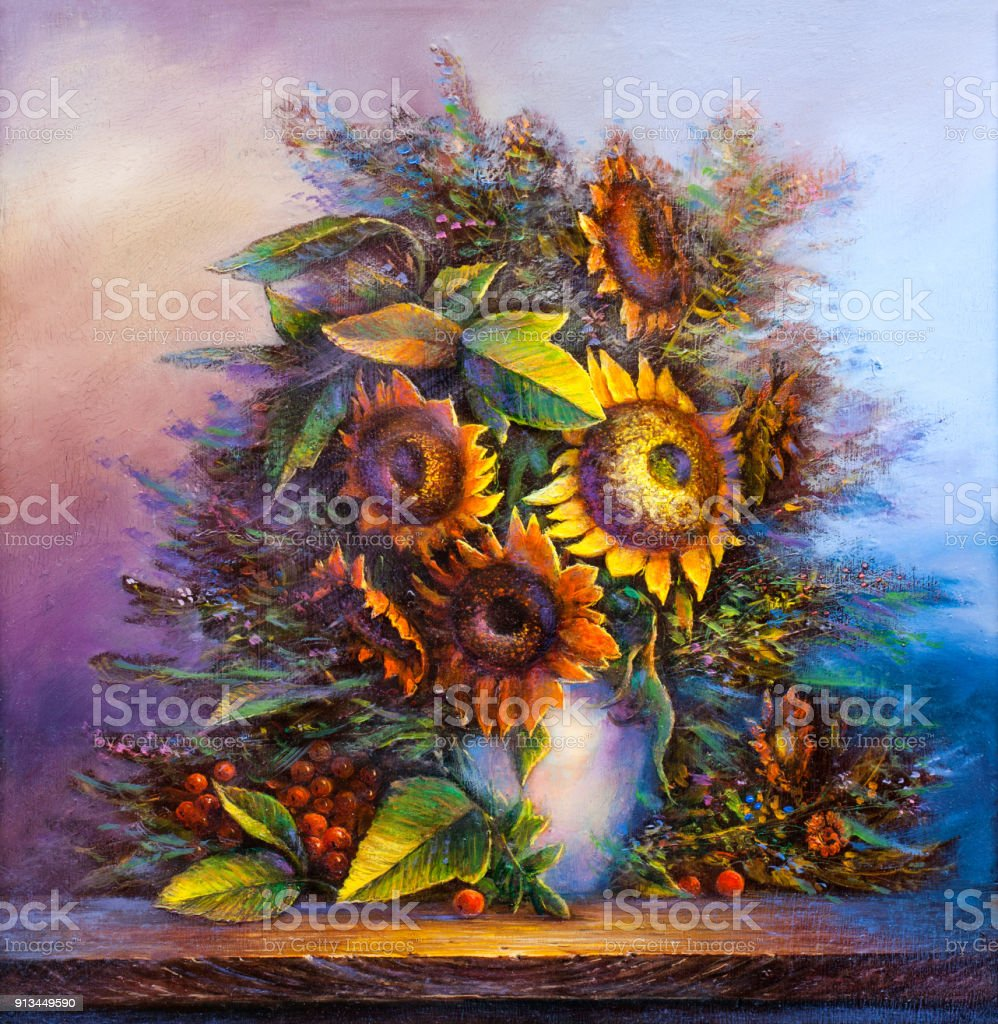 Bouquet of sunflowers in a vase . Impressionist style.