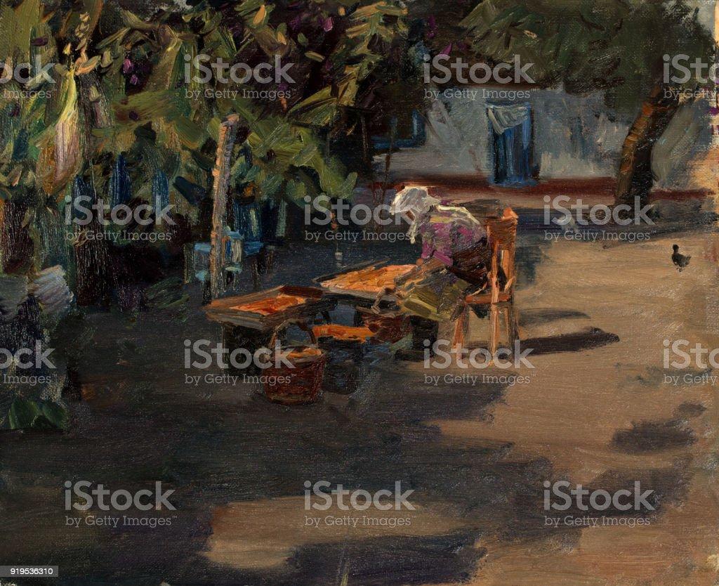 Oil painting, handmade vector art illustration