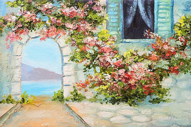 bildbanksillustrationer, clip art samt tecknat material och ikoner med oil painting - house near the sea, colorful flowers, summer - amalfi