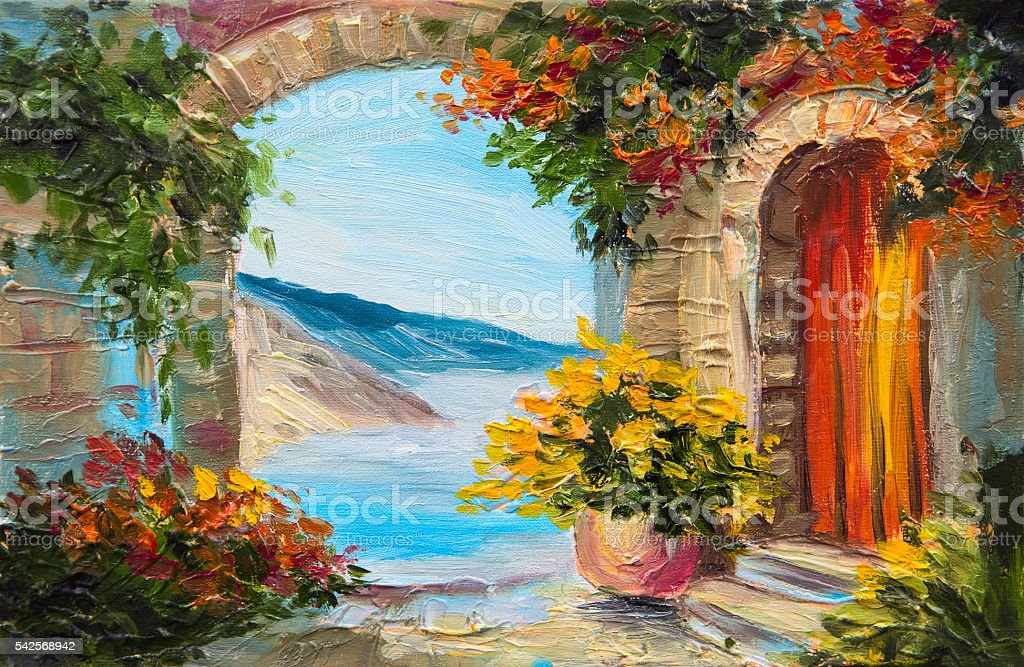 Oil painting house near the sea colorful flowers summer for Arboles florales para jardin