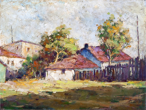Oil painting showing houses in the village on the cloudy spring day.
