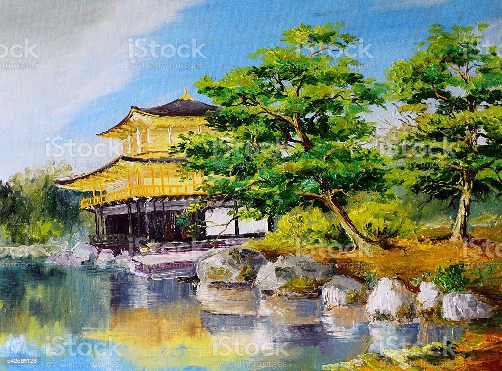 Oil Painting Japanese Garden Lake Near The Home Stock