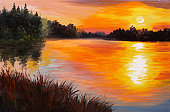 istock oil painting - lake in a forest, sunset. abstract painting 542569228