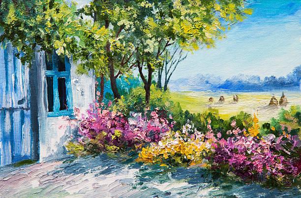 oil painting landscape - garden near the house, colorful flowers oil painting landscape - garden near the house, colorful flowers, summer forest impressionism stock illustrations