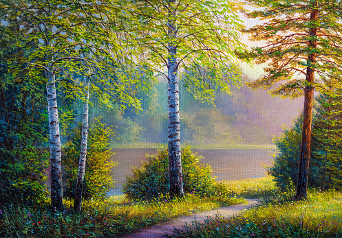 Oil painting landscape , colorful summer forest, beautiful river .