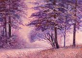 Summer forest road, oil painting on canvas