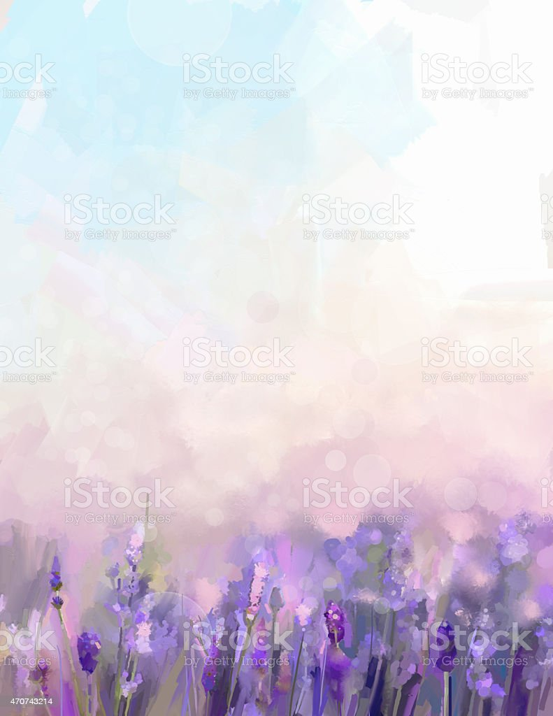 Oil painting lavender flowers in the meadows. vector art illustration