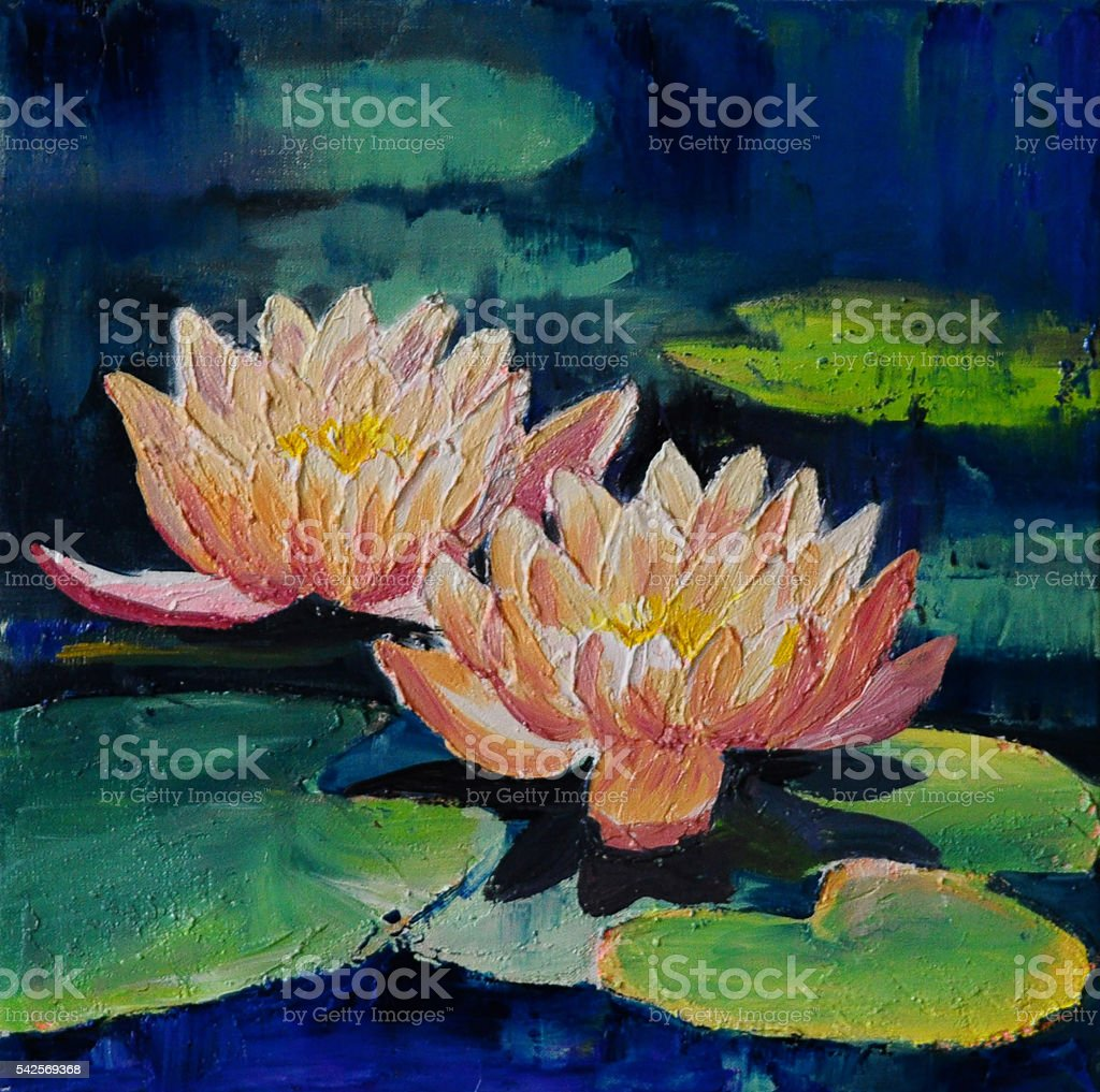 Oil painting lotus flower abstract drawing impressionism stock oil painting lotus flower abstract drawing impressionism royalty free oil painting lotus izmirmasajfo