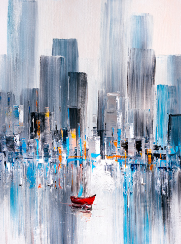 Oil Painting - Manhattan Bay, New York