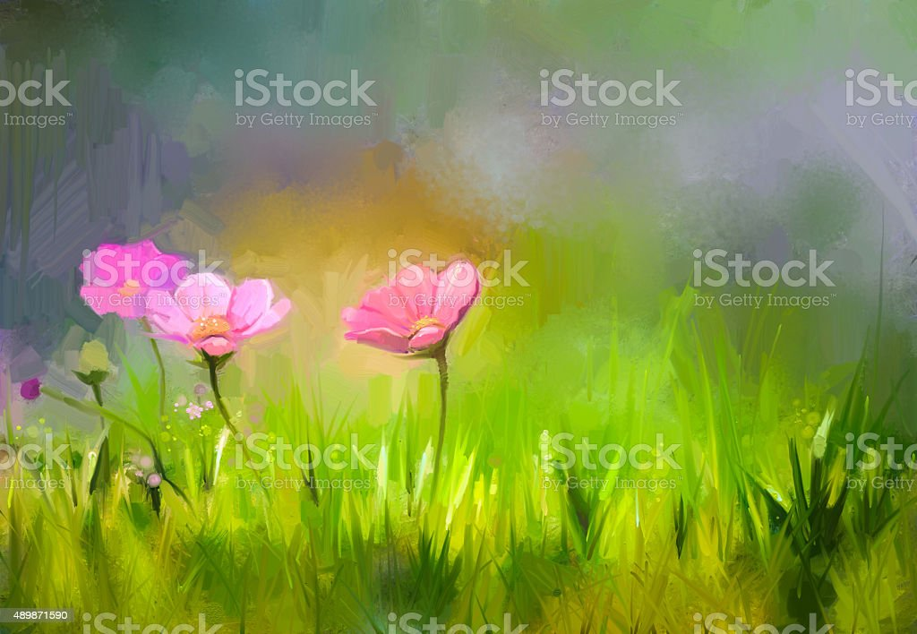 Oil painting nature grass flowers. Hand paint close up pink cosmos...