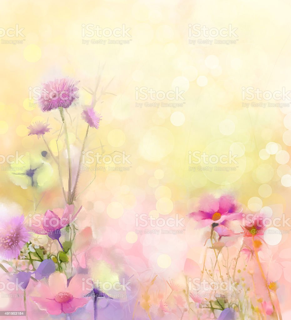 Oil painting nature grass-pink cosmos flower vector art illustration
