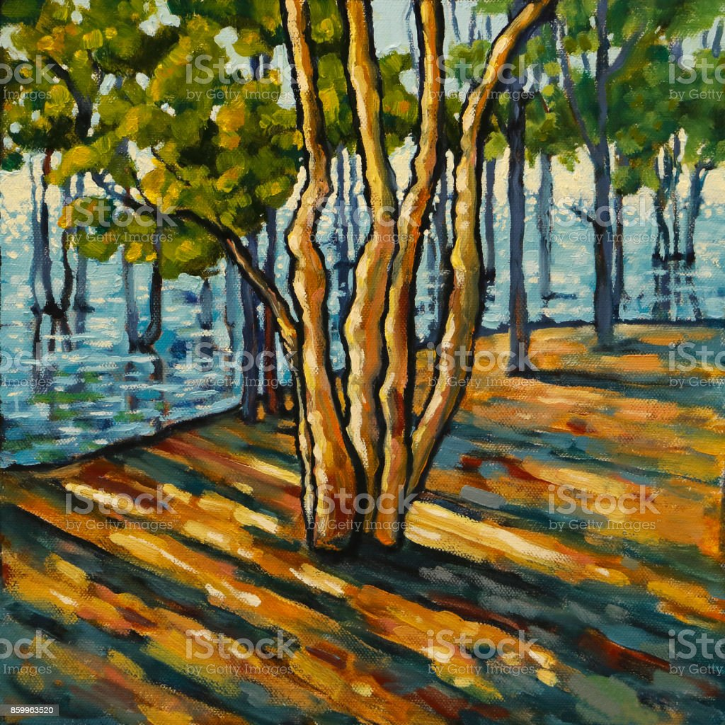 Oil Painting of an Acacia Tree in Wetlands with Early Morning Light vector art illustration