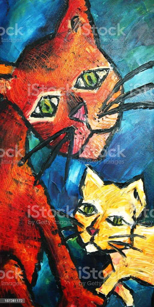 Oil Painting of Cats royalty-free oil painting of cats stock vector art & more images of animal