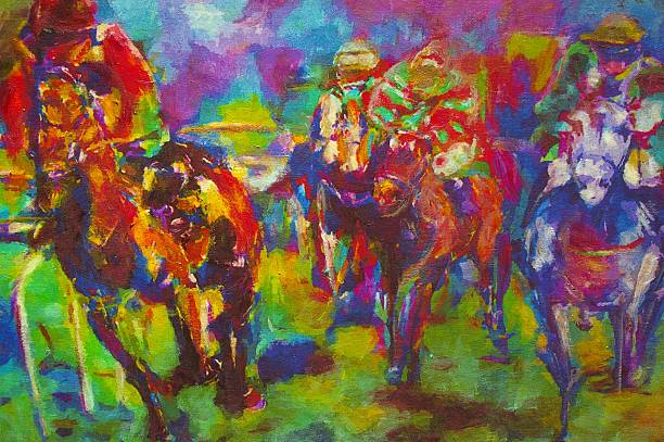 oil painting of equestrian race - horse racing stock illustrations
