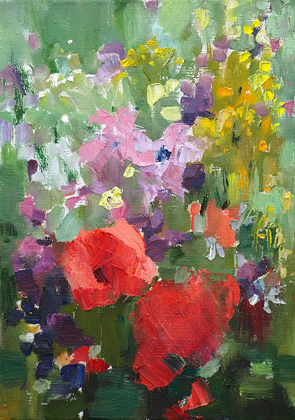 Oil painting of flowers. Oil painting of the beautiful flowers. impressionism stock illustrations