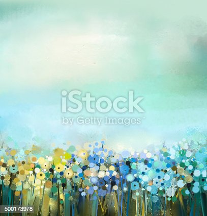 Abstract art oil painting of flowers plant. Dandelion flower in fields. Meadow landscape with wildflower. Green-blue sky color. Hand Paint floral Impressionist. Summer-spring nature background