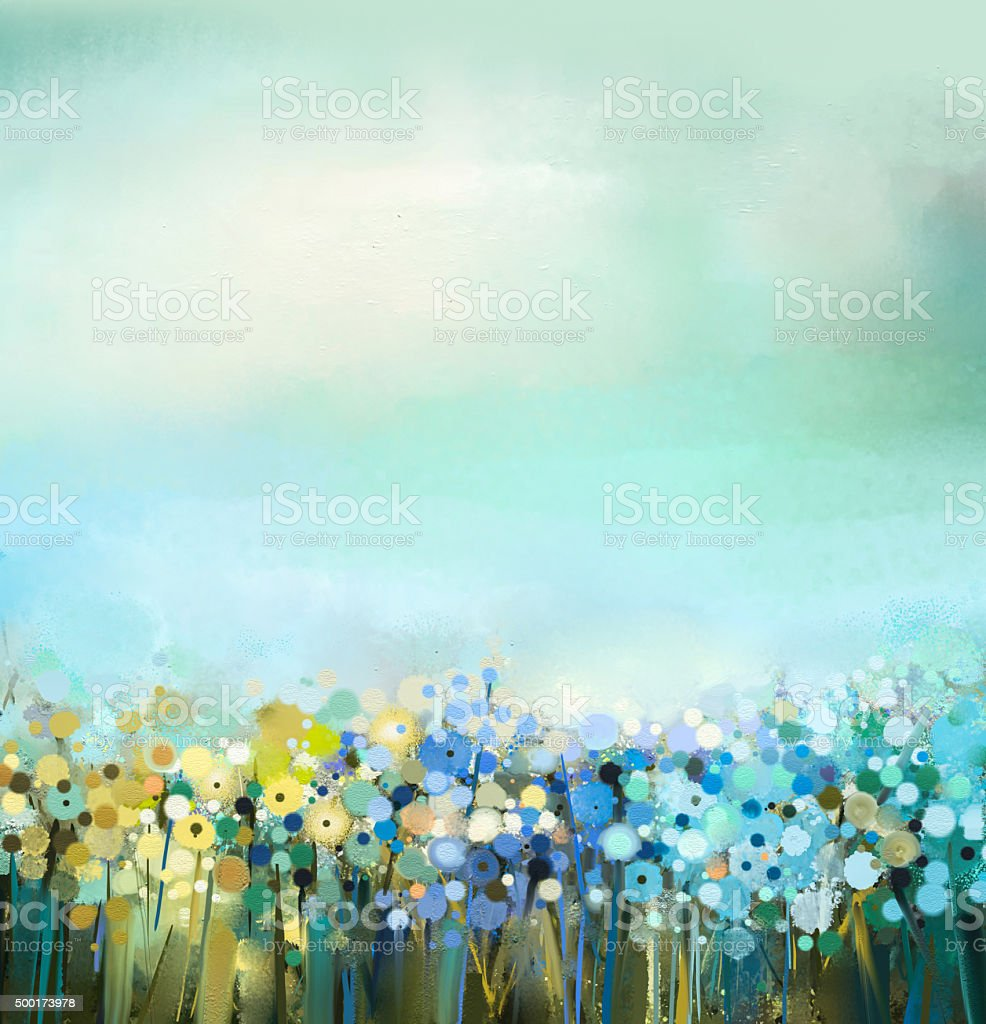 Oil painting of flowers plant. Dandelion flower in fields. vector art illustration