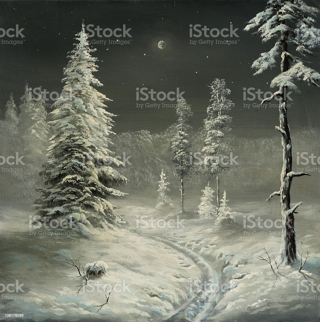 Oil Painting of Forest in Winter at Night royalty-free stock vector art