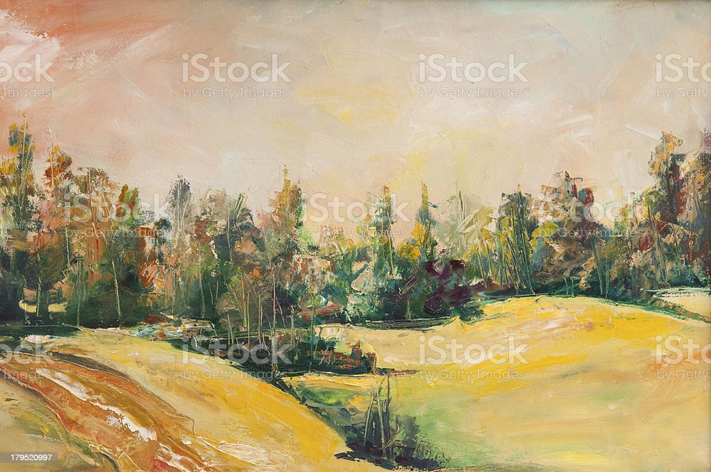 Oil painting of hills with a path leading to the forest royalty-free stock vector art
