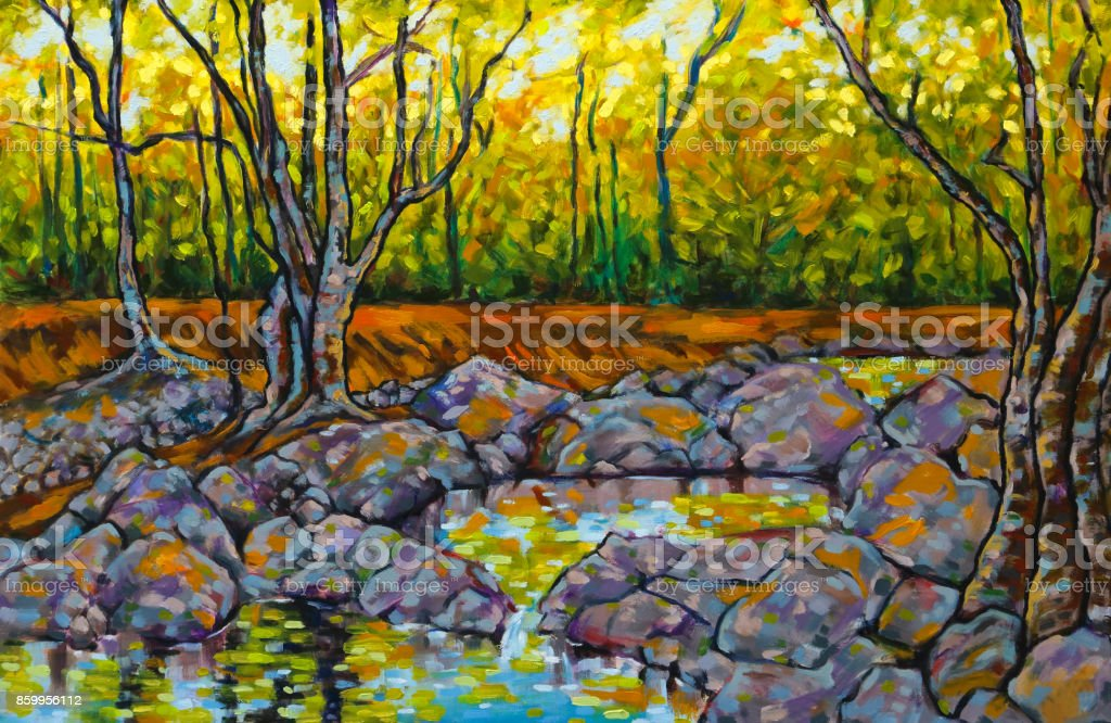 Oil Painting of River Rock Pools Trees and Dappled Sunlight vector art illustration